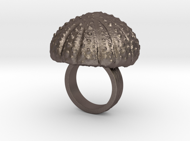 Urchin Statement Ring - US-Size 3 (14.05 mm) in Polished Bronzed Silver Steel