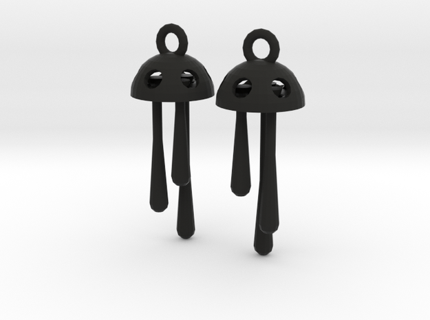 Three Short Drops Earrings in Black Natural Versatile Plastic