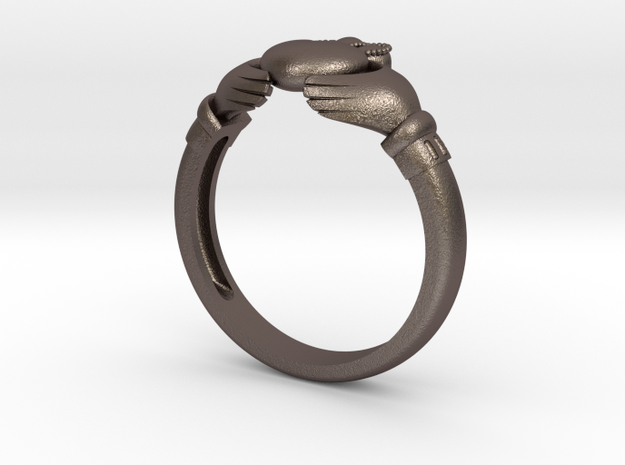 Claddah ring size 8 in Polished Bronzed Silver Steel