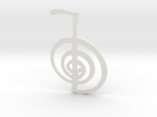 Reiki Power Symbol in White Natural Versatile Plastic