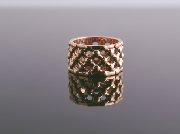 Gold Mesh Ring / Sterling Silver Mesh Ring in Fine Detail Polished Silver