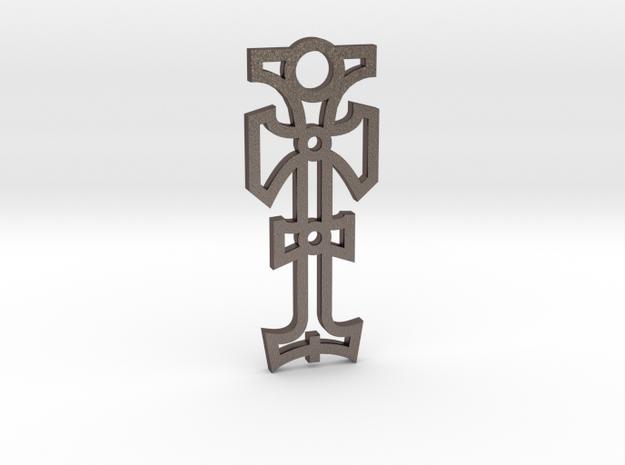 Cross / Cruz in Polished Bronzed Silver Steel