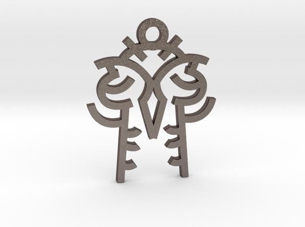 Twin Souls / Almas Gemelas in Polished Bronzed Silver Steel