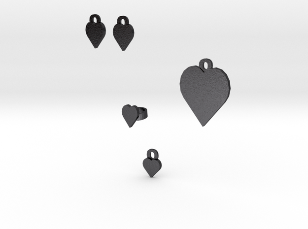 heart jewelry set 3d printed