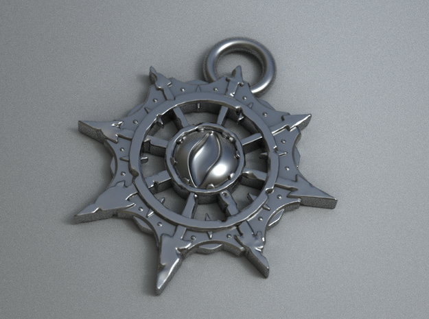 Chaos Pendant Small (ver.2) in Polished Bronzed Silver Steel