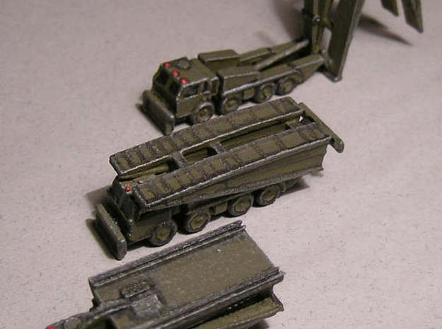 1/300 PM 55 Bridge on Tatra 813 x2 3d printed Various Bridging truck models, painted by Fred Oliver