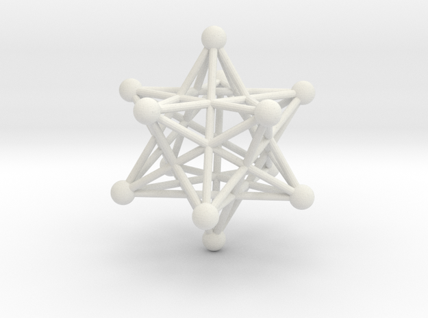 Stellated Dodecahedron pendant 40mm in White Natural Versatile Plastic