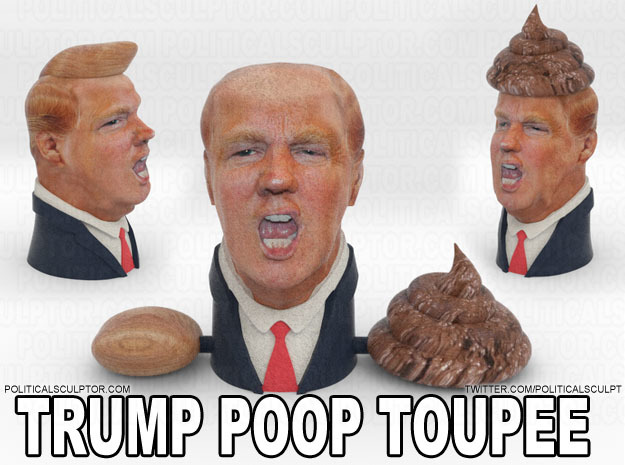 Donald Trump Poop Toupee in Full Color Sandstone