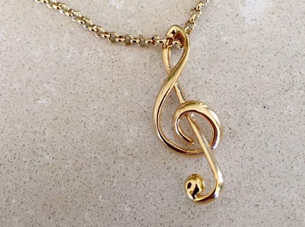 Treble Clef Pendant in 18k Gold Plated