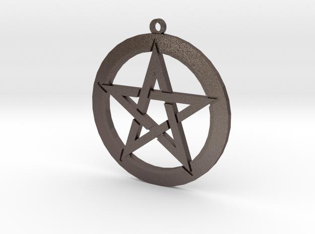Pentagram in Polished Bronzed Silver Steel