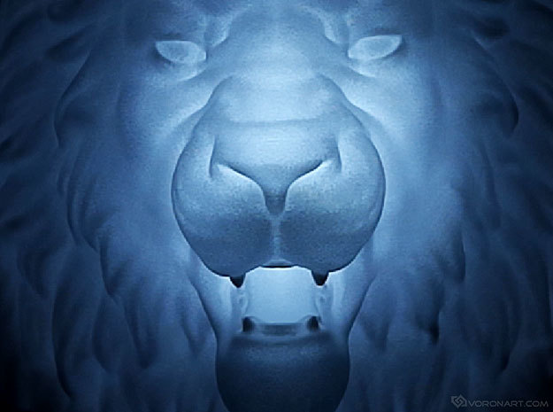 Lion Head Wall Mount. in White Processed Versatile Plastic