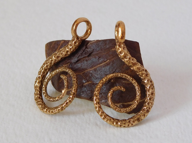Spiral Earrings Textured in Natural Bronze