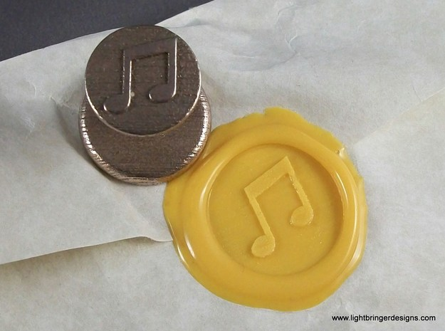 Music Notes Wax Seal in Polished Bronzed Silver Steel