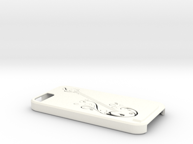 Iphone 5 Guitar Case in White Strong & Flexible Polished