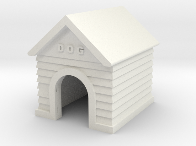 Doghouse - HO 87:1 Scale in White Natural Versatile Plastic