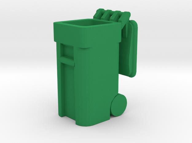 Trash Cart 64 gal Lid Open- HO 87:1 Scale in Green Processed Versatile Plastic