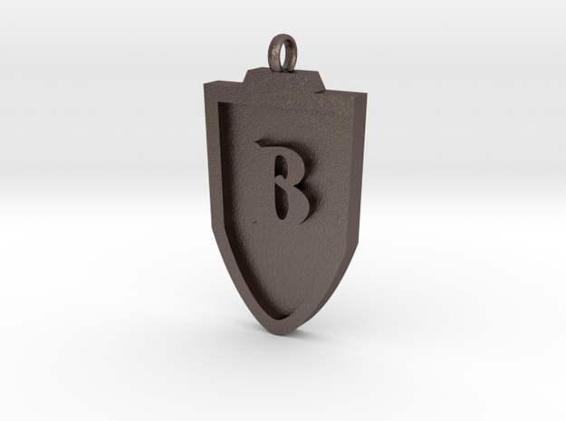 Medieval B Shield Pendant in Stainless Steel