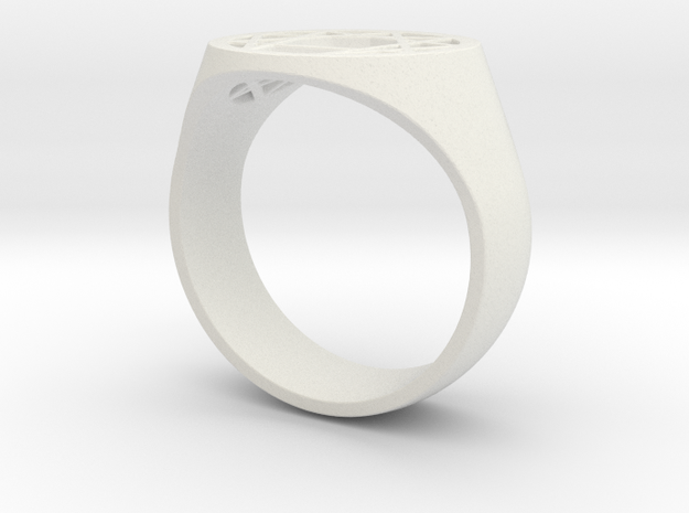 Enneagram Ring - Thick Band - Size 11 in White Natural Versatile Plastic