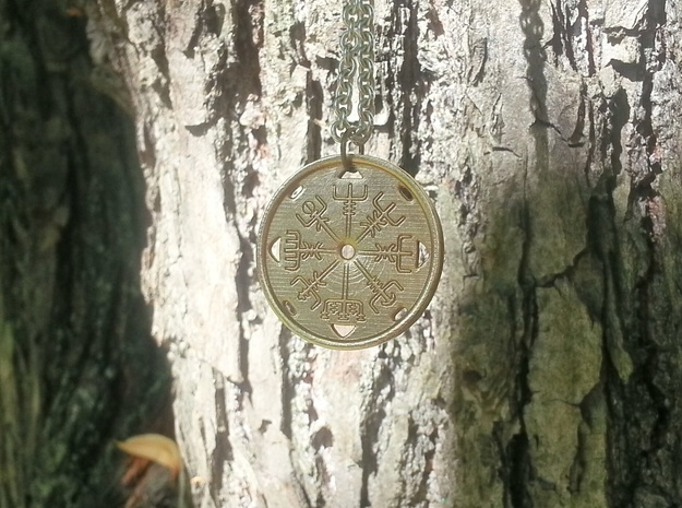 Vegvisir - Pendant in Raw Bronze