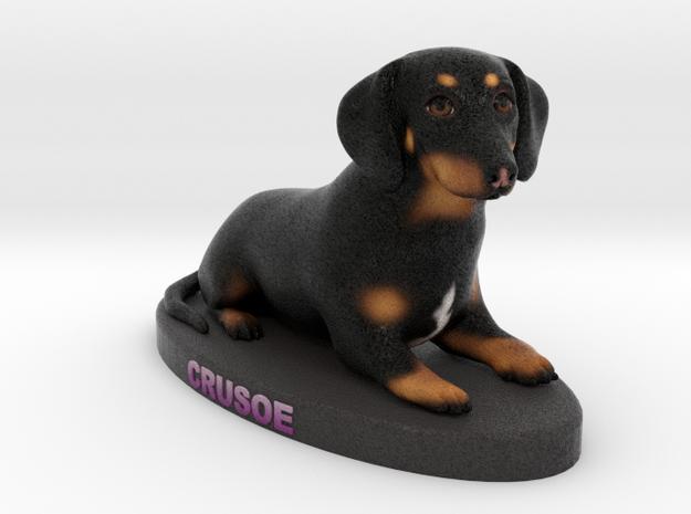 Custom Dog Figurine - Crusoe in Full Color Sandstone