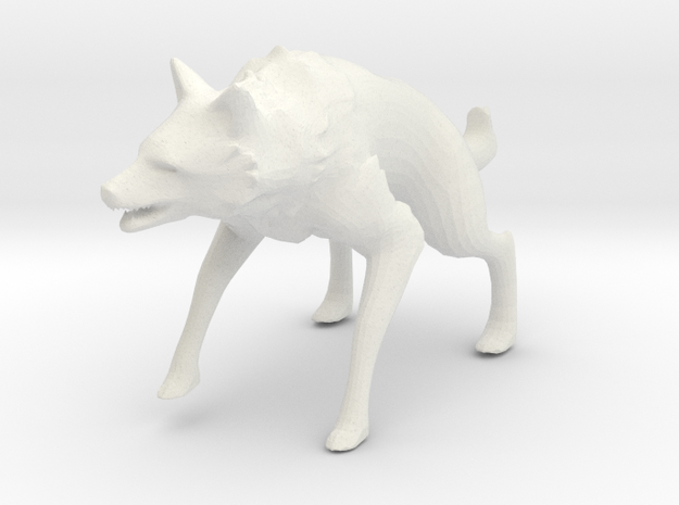 Wolf Pop Art Figurine in White Strong & Flexible: 28mm