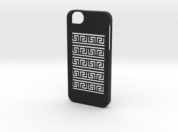 Iphone 5/5s greek meander case in Black Natural Versatile Plastic