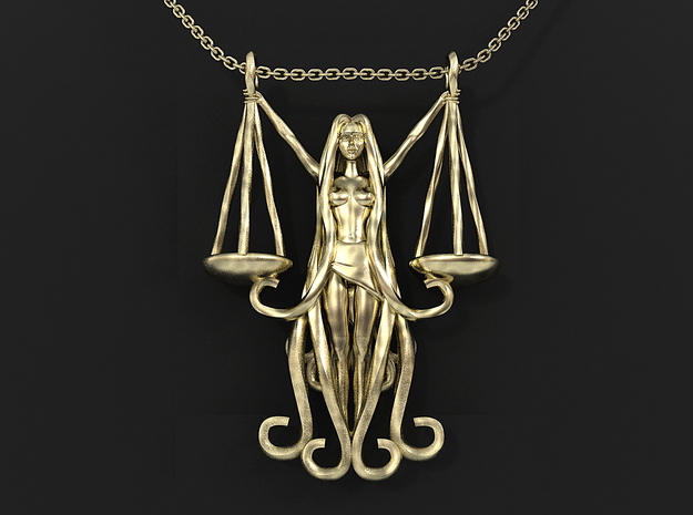Libra Zodiac Pendant in 14k Gold Plated Brass