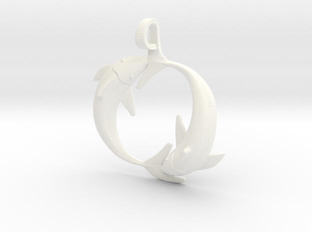 Pisces Zodiac Pendant in White Processed Versatile Plastic