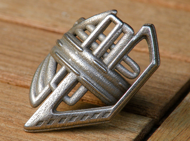 Balem's Ring2 - US-Size 5 1/2 (16.10 mm) in Polished Bronzed Silver Steel