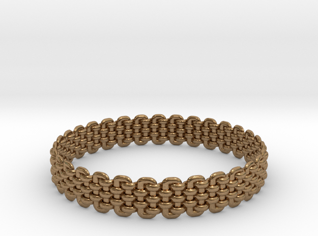 Wicker Pattern Bracelet Size 5 in Natural Brass