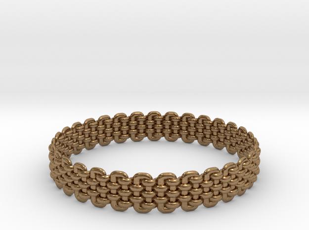 Wicker Pattern Bracelet Size 5 in Raw Brass