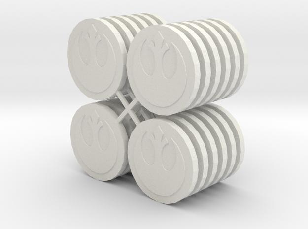 Star Wars Armada Misson Tokens in White Natural Versatile Plastic