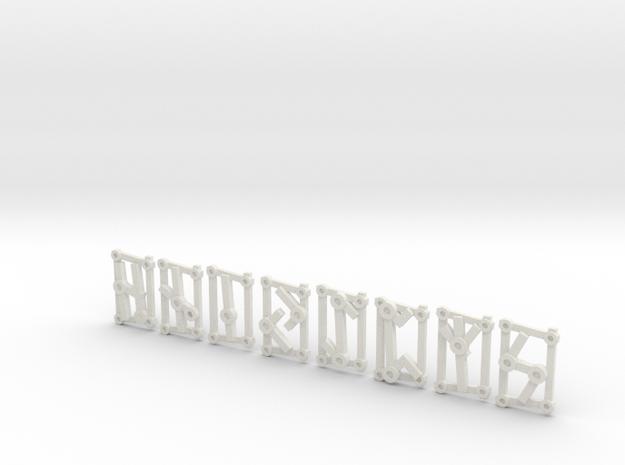 Small Aett 2 - Futhark Runes - 8 of 24 in White Natural Versatile Plastic