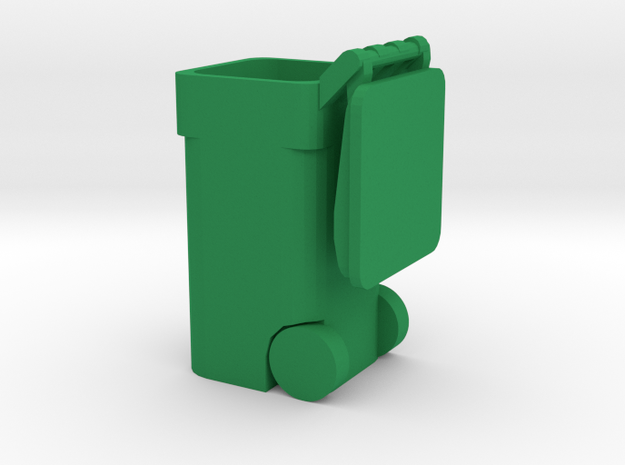 Trash Cart Open - 'O' 48:1 Scale in Green Processed Versatile Plastic