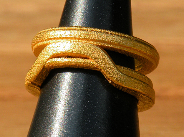 Balem's Ring1 - US-Size 13 (22.33 mm) in Polished Gold Steel