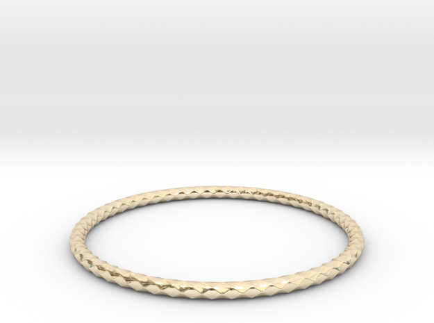 Diamond Pattern Bracelet USA Size X-Large in 14K Yellow Gold
