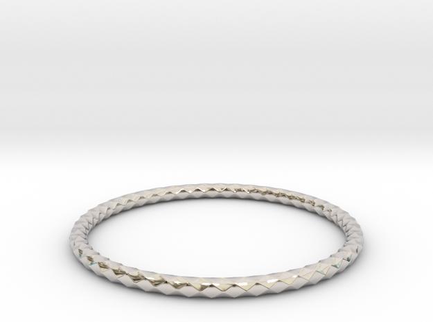 Diamond Pattern Bracelet USA Size Medium in Rhodium Plated