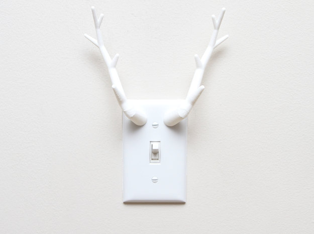 Antler Light Switch Plate Cover in White Natural Versatile Plastic