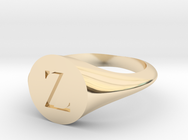 Letter Z - Signet Ring Size 6 in 14k Gold Plated Brass