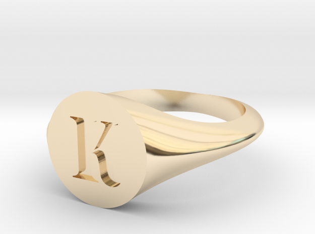 Letter K - Signet Ring Size 6 in 14k Gold Plated Brass