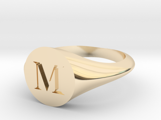 Letter M - Signet Ring Size 6 in 14k Gold Plated Brass