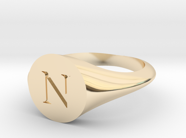 Letter N - Signet Ring Size 6 in 14k Gold Plated Brass
