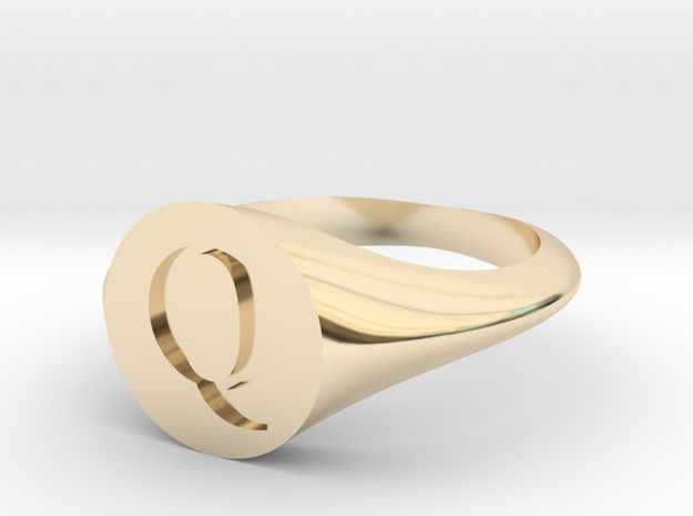 Letter Q - Signet Ring Size 6 in 14k Gold Plated Brass