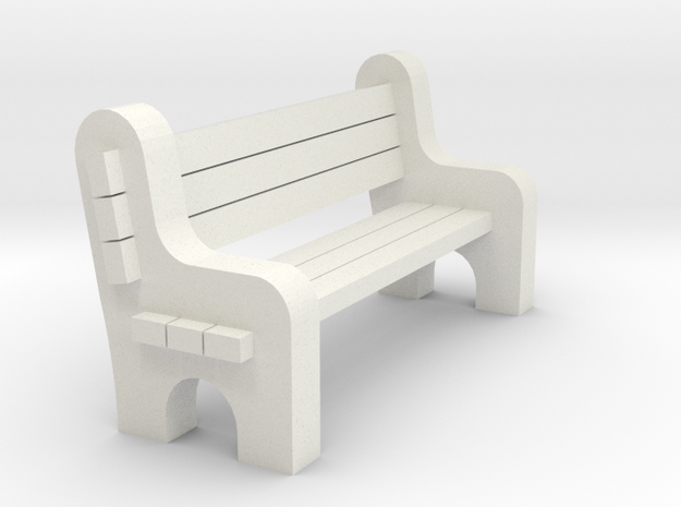 Street Bench 'O' 48:1 Scale in White Natural Versatile Plastic