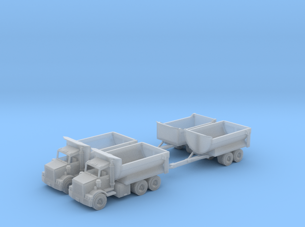 Two Dump Trucks And Trailers Z Scale in Smooth Fine Detail Plastic