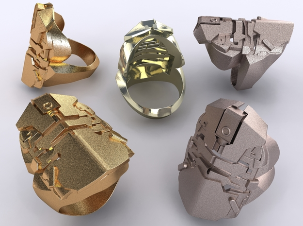 Dead Space Security Helmet ring 3d printed Stainless Steel, Gold Plated Matte & Premium Silver render