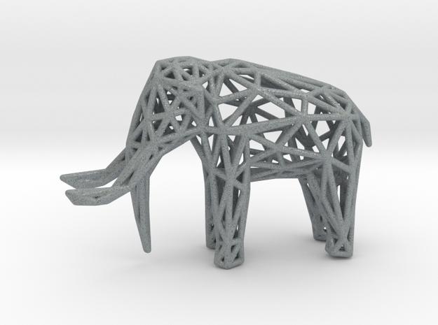 Elephant Wireframe 50mm in Polished Metallic Plastic