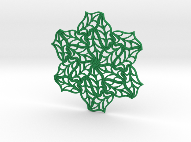 Drink Coaster- Tileable - Leaf Pattern in Green Strong & Flexible Polished