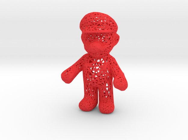 Mario Wireframe 100mm in Red Processed Versatile Plastic