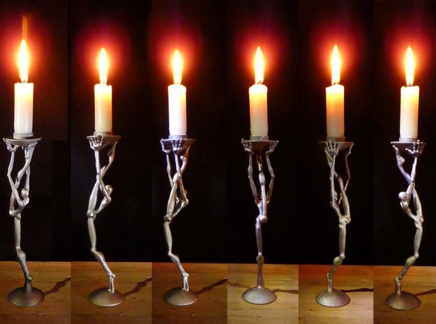 Striding man - 3D printed  candleholder in Stainless Steel